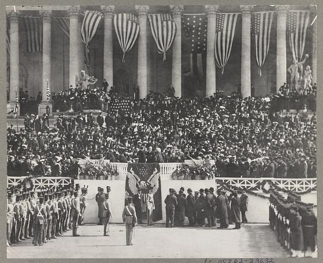 Theodore Roosevelt taking oath administered by Judge Fuller