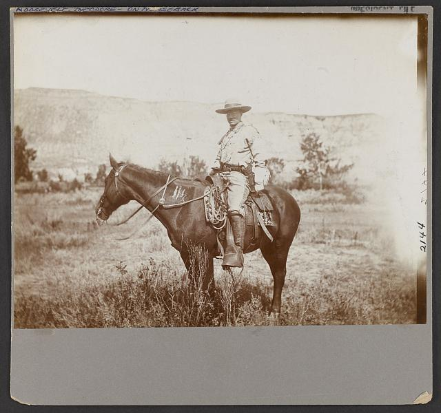 [Roosevelt (Theo.) on his favorite hunting pony]