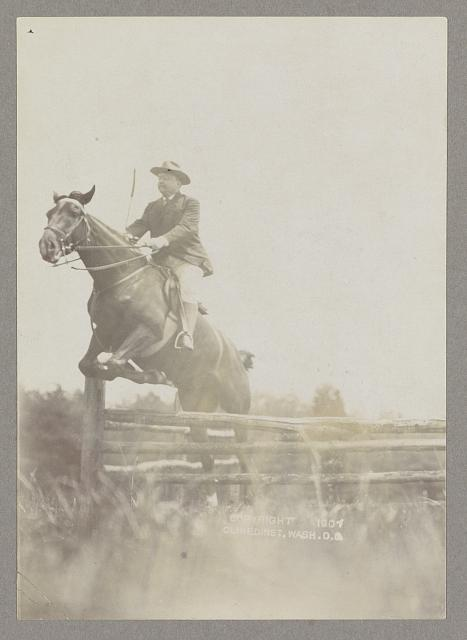 [Theodore Roosevelt on horseback jumping over a split rail fence]