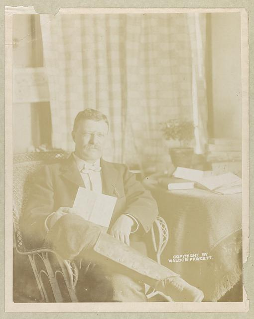 [Theodore Roosevelt, three quarter-length portrait, seated holding letter, legs crossed]