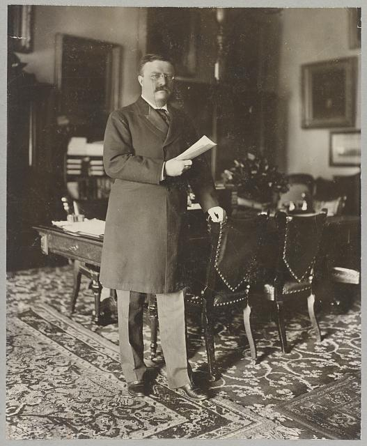 [Theodore Roosevelt, full-length portrait, standing by table, facing right; holding paper in right hand, left hand on back of chair]