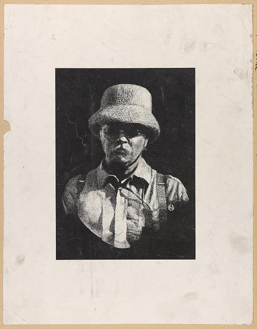[Theodore Roosevelt, head-and-shoulders sketch portrait, wearing hat and sunglasses, facing front]