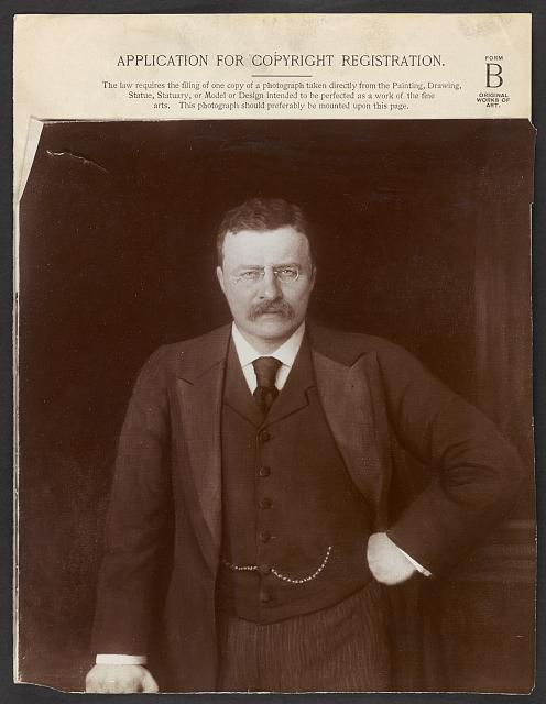 [Theodore Roosevelt, half-length portrait, standing with hand at hip, facing front]