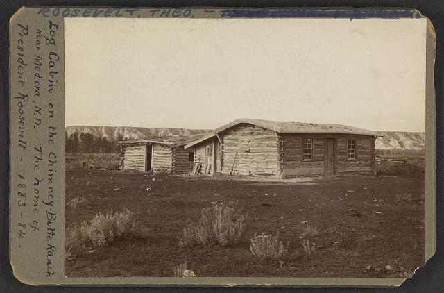 Log cabin on the Chimney-Butte Ranch near Medora, N.D., the home of President Roosevelt, 1883-84