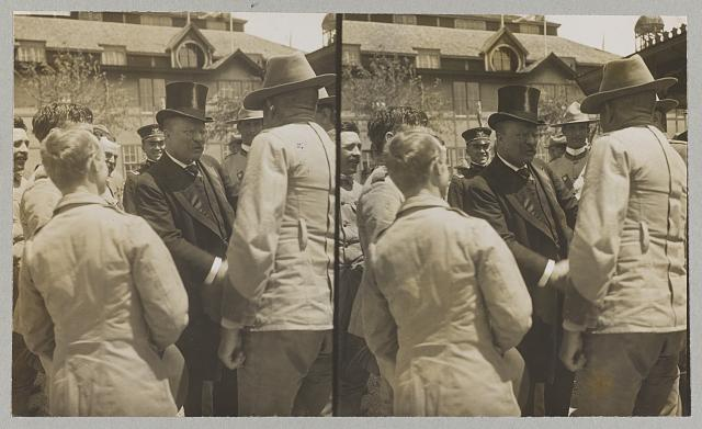 "Theodore Roosevelt greeting ""the boys"" who fought in Cuba - ""Rough Rider"" reunion at San Antonio, Texas"