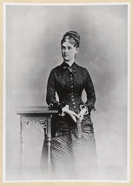 [Mrs. Theodore Roosevelt, three-quarter length portrait, standing, facing slightly left]