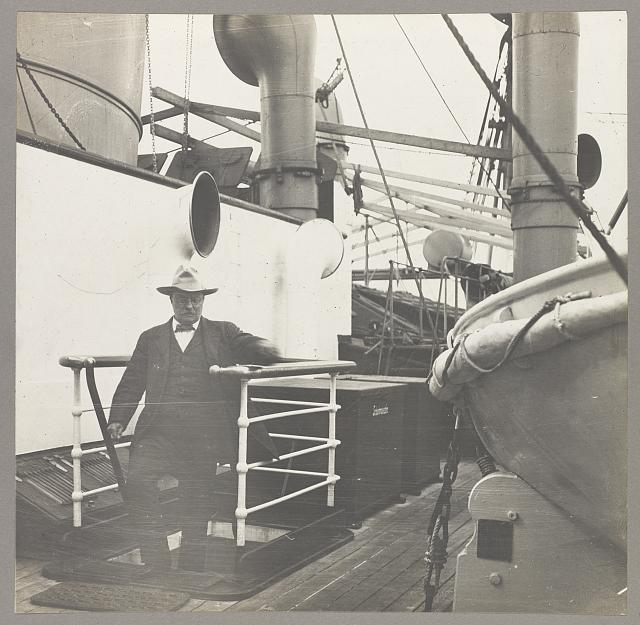 [Col. Theodore Roosevelt stepping onto the deck of a ship]