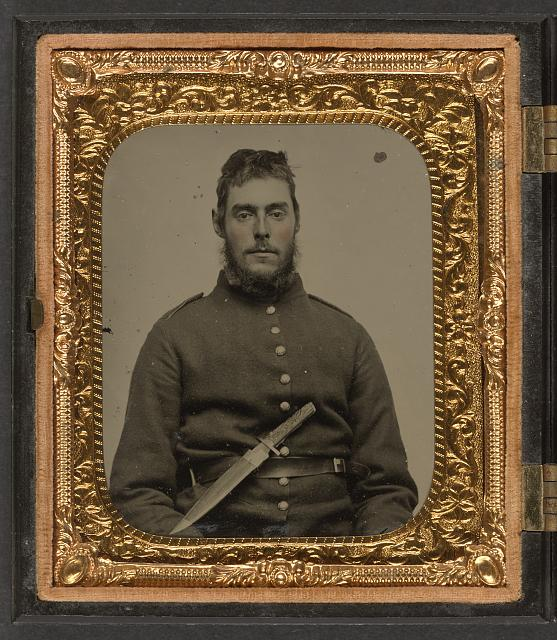 [Unidentified soldier in Union uniform with large Bowie knife on belt]