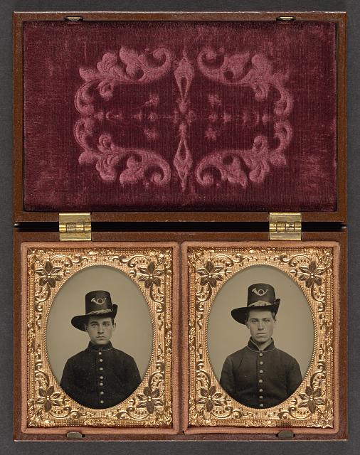 [Two unidentified soldiers in Union uniforms with Hardee hats bearing infantry insignia]