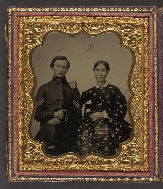 [Corporal James M. Dennis of Company F, 16th Ohio Infantry Regiment, and Companies A and F, 114th Ohio Infantry Regiment, with Hannah C. Barnard]
