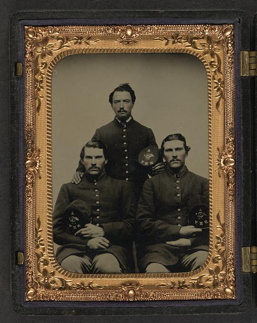 [Privates and twin brothers Bartlett and John Ellsworth with brother Samuel Ellsworth of Company A, 12th New Hampshire Infantry]