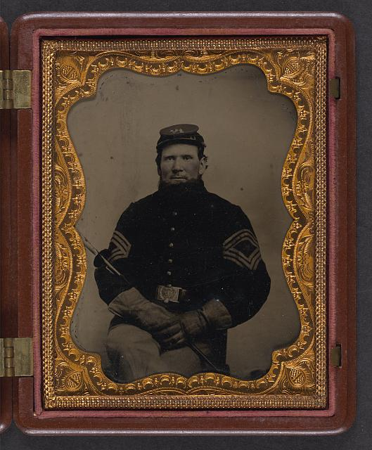 [Unidentified soldier in Union sargeant major's uniform with gauntlets and forage cap of the 206th Pennsylvania Volunteers Regiment]