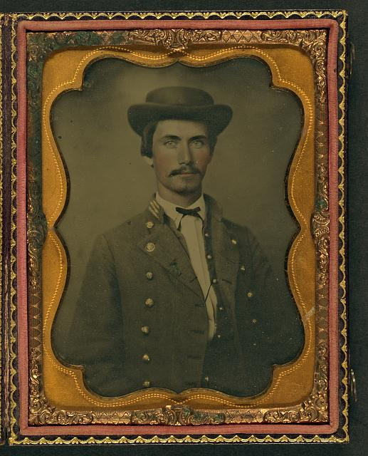 [Captain Jesse Sharpe Barnes, F Company, 4th North Carolina Infantry in frock coat and hat]