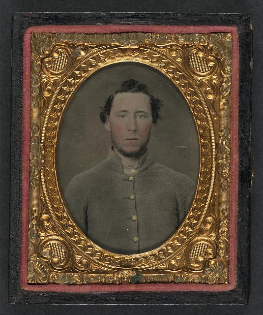[Unidentified soldier in Confederate shell jacket]