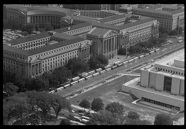 [Aerial view of 14th Street during the March on Washington, 1963]