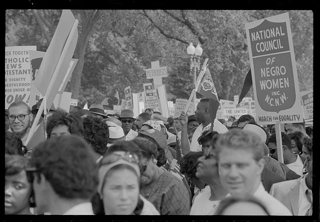 """[Marchers with """"National Council of Negro Women"""" sign at the March on Washington, 1963]"""