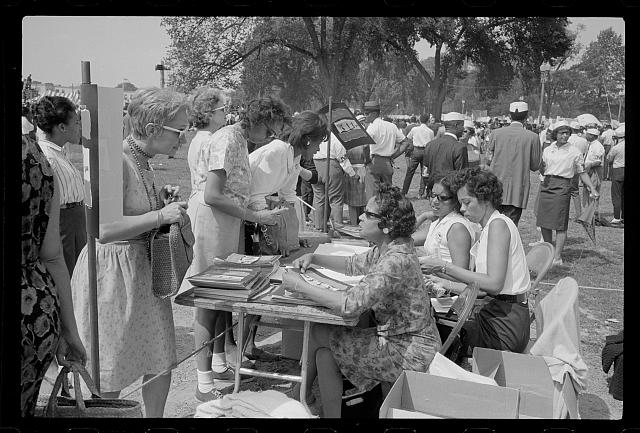 [Souvenir booklet sales table at the March on Washington, 1963]