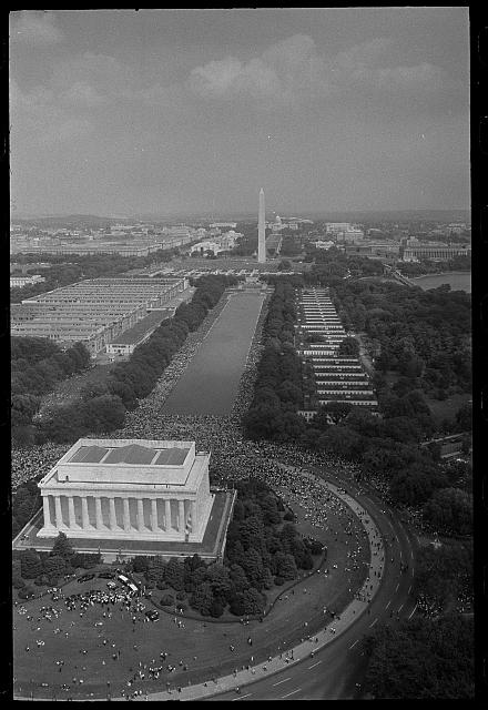 [Aerial view of marchers, from the Lincoln Monument to the Washington Monument, at the March on Washington, 1963]