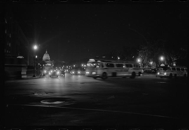 [Buses with marchers departing after the March on Washington, 1963]