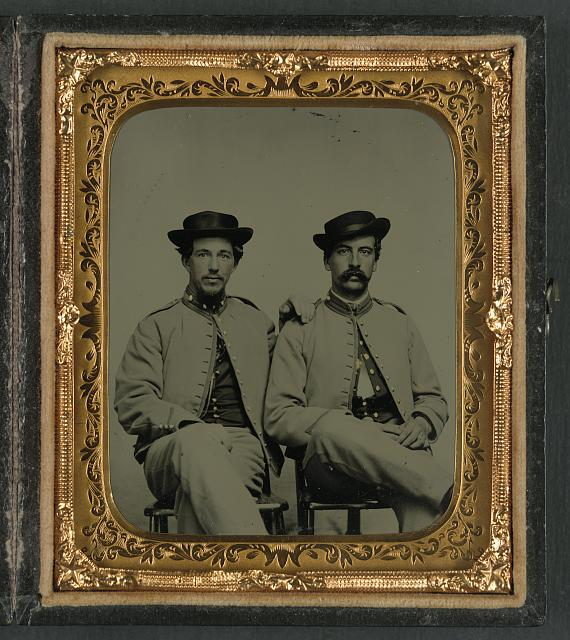 [Private William Holland Liming of Co. A, 34th Mississippi Infantry Regiment, and unidentified soldier in same uniform]