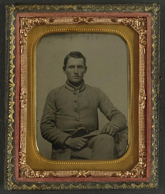 [William Snodgrass of an unidentified Virginia infantry regiment with underhammer pistol]