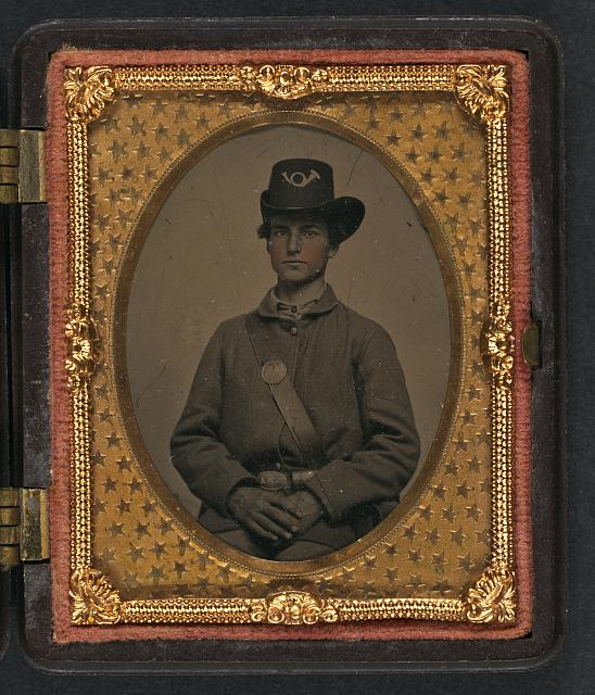 [Unidentified young soldier in Union uniform and Hardee hat with VMM belt buckle]