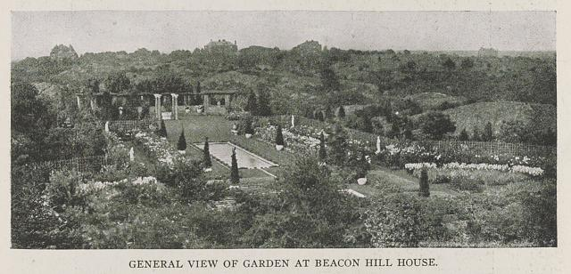General view of garden at Beacon Hill House, Newport residence of Arthur Curtis James, Esq. Olmsted Brothers, Landscape Architects