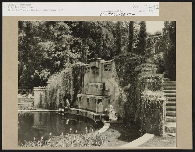 "[""Il Paradiso,"" Mrs. Dudley Peter Allen house, 1188 Hillcrest Avenue, Oak Knoll, Pasadena, California. Lower garden stairs]"
