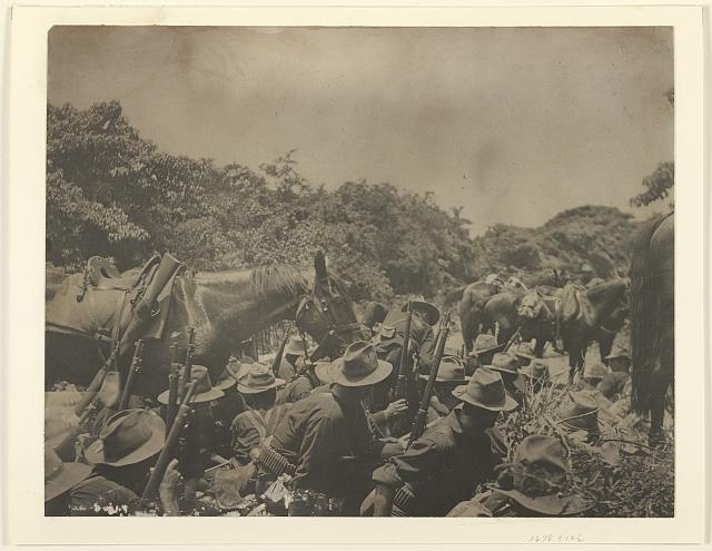 Sixteenth infantry in San Juan creek bottom, under Spanish fire from San Juan Hill, July 1st, 1898