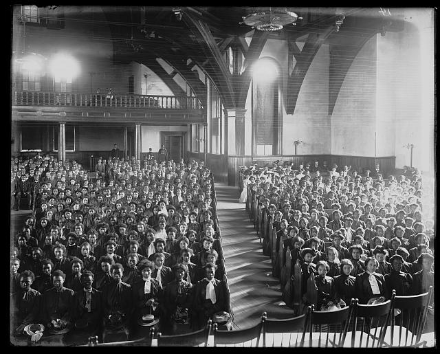 [Interior view of chapel filled with female students at the Tuskegee Institute]