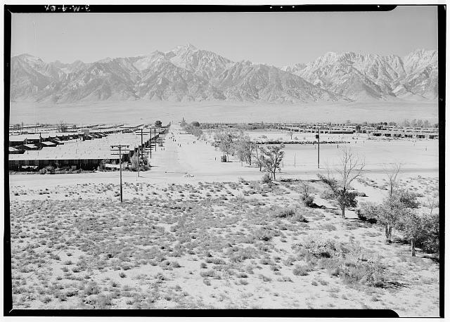 Manzanar from Guard Tower, view west (Sierra Nevada in background), Manzanar Relocation Center, California