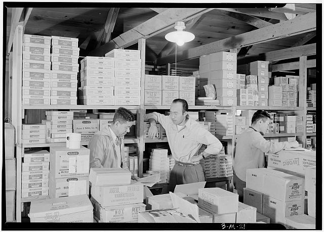 Warehouse, M. Ogi, manager; S. Sugimoto, manager of Co-op; Bunkichi Hayashi, Manzanar Relocation Center