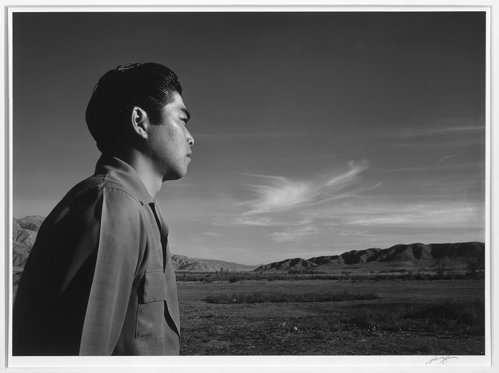 Tom Kobayashi, landscape, south fields, Manzanar Relocation Center by Ansel Adams