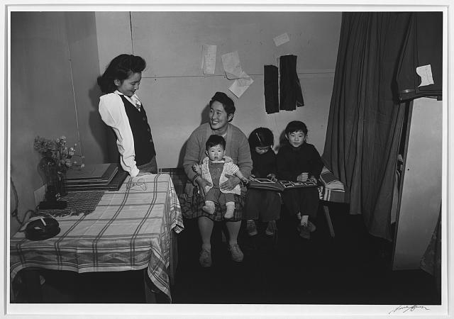 Mitsu, Margaret, Jane and Roy Nakai and baby, Manzanar Relocation Center