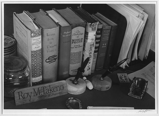 Roy Takeno's desk, Manzanar Relocation Center