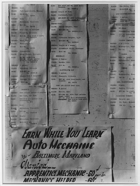 Work-offer board, Manzanar Relocation Center, Calif.