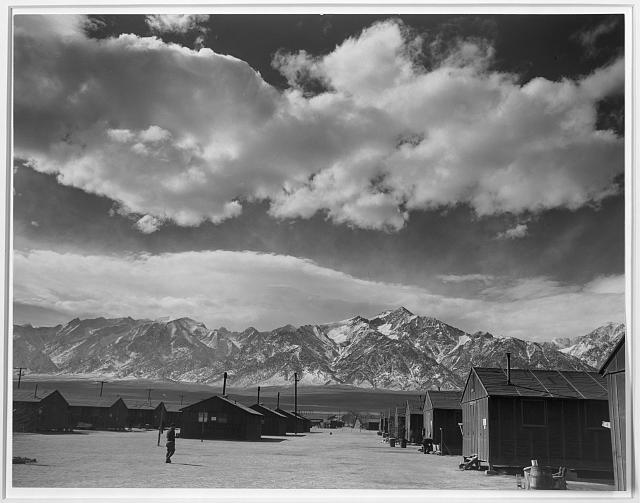 Manzanar street scene, clouds, Manzanar Relocation Center, California