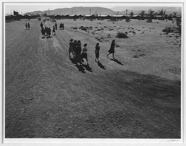 People walking, Manzanar Relocation Center