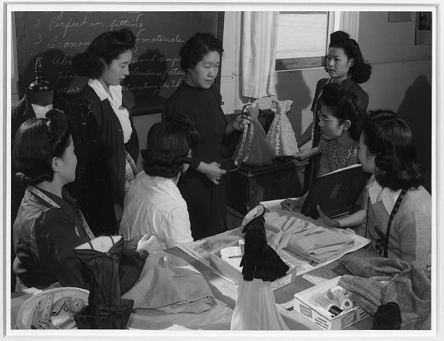 Mrs. Ryie Yoshizawa, teacher, fashion designing class, Manzanar Relocation Center, California