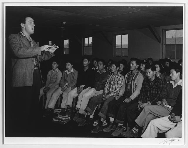 Choir with director Louie Frizzell, Manzanar Relocation Center