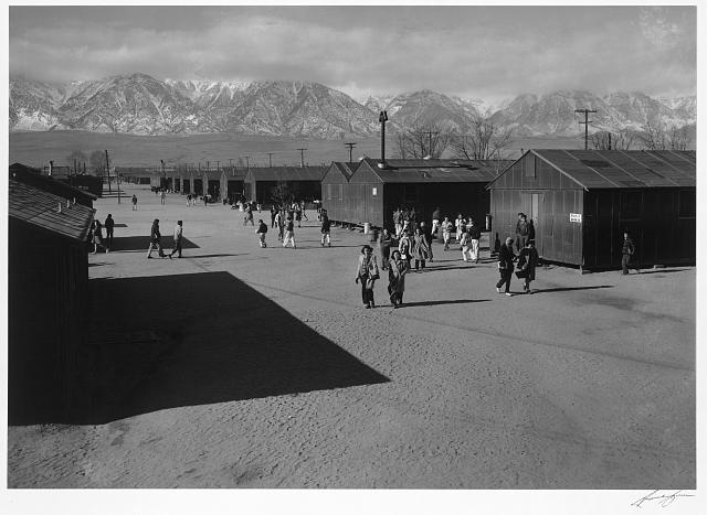 High school recess period, Manzanar Relocation Center, California