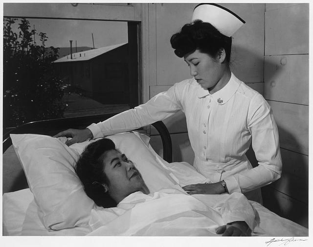 Nurse Aiko Hamaguchi and patient Toyoko Ioki, Manzanar Relocation Center, California