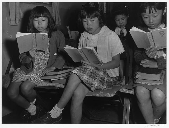 Children at Sunday school class, Manzanar Relocation Center, California
