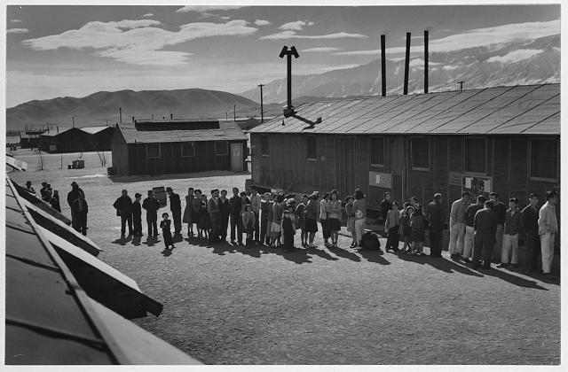 Mess line, noon, Manzanar Relocation Center, California