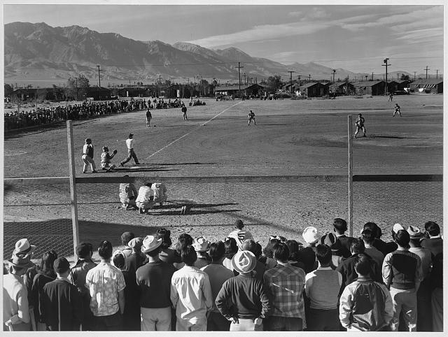 Baseball game, Manzanar Relocation Center, Calif.