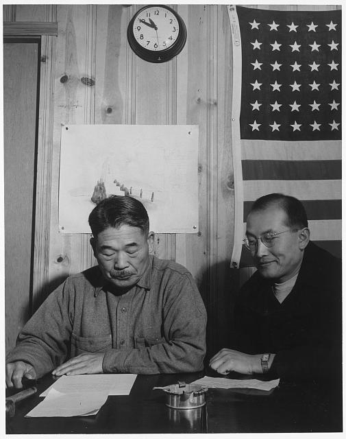 Roy Takano [i.e., Takeno] and Mayor, town hall meeting, Manzanar Relocation Center, California