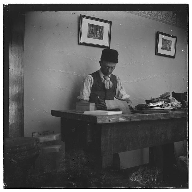 [Edwin H. Sines, neighbor of the Wright brothers and partner in their early printing business, in printing office]