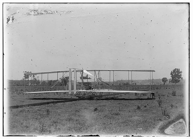 [Close-up view of machine on launching track at Huffman Prairie, Dayton, Ohio]