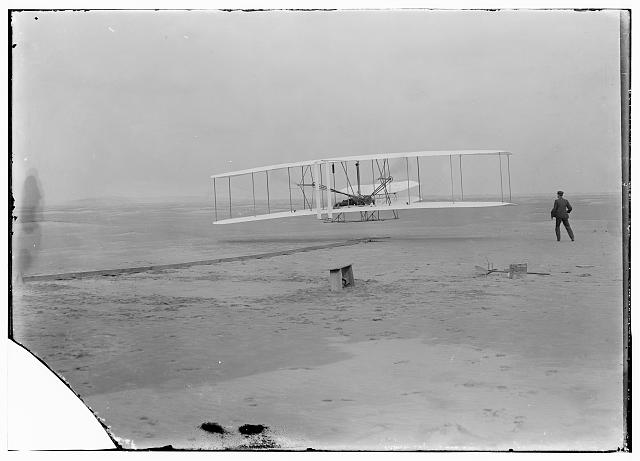 [First flight, 120 feet in 12 seconds, 10:35 a.m.; Kitty Hawk, North Carolina]