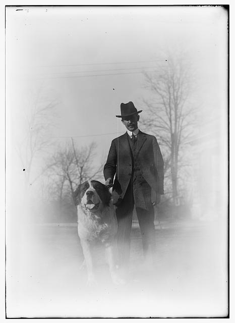 Photo of Orville Wright and his dog